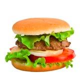 blanc d'isolement par hamburger classique Photos stock