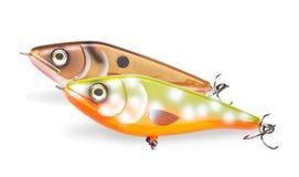 blanc d'isolement par pêche d'amorce de fond Image stock
