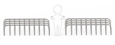 blanc 3d - le geste rayé externe noir d'arrêt d'apparence de caractère par ses mains et le nearbyarea est couvert par des barrièr Photo stock