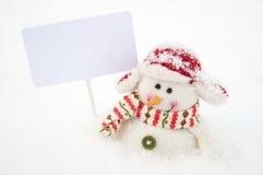 blanc de bonhomme de neige de panneau Photos stock