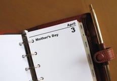 Blanc de calendrier du jour de mère photo libre de droits