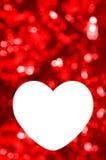 Blanc de carte de voeux avec le fond rouge de bokeh Images libres de droits