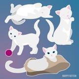 Blanc de Cat Set sur le fond bleu illustration de vecteur