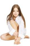 blanc de chemise de fille Photographie stock