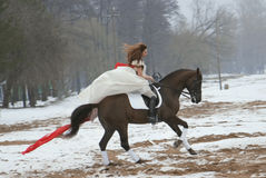 blanc de cheval de fille de robe photo libre de droits