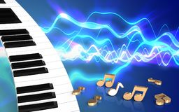 blanc de clavier de piano 3d Illustration Libre de Droits