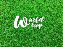 ` Blanc de coupe du monde de ` des textes sur le football vert classé image libre de droits