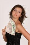 blanc de fille de ventilateur Image stock