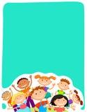 Blanc de fond de vecteur avec la colonie de vacances d'enfants Photo libre de droits