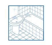 Blanc de graphisme de salle de bains Photo libre de droits