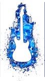 blanc de l'eau de silhouette de guitare Images libres de droits