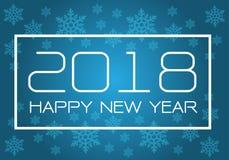 Blanc de la bonne année 2018 sur le bleu avec la conception de modèle de flocon de neige pour le vecteur de fond de célébration d Images stock