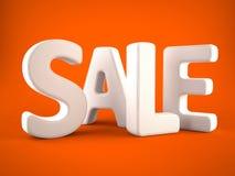 Blanc de mot de vente sur le fond orange Photographie stock libre de droits