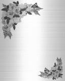 Blanc de noir de roses d'invitation de mariage Images libres de droits