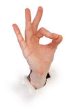 blanc de papier mâle de main de geste photographie stock libre de droits