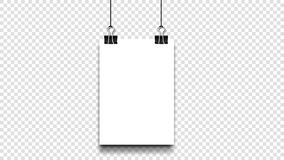 Blanc A4 de papier vide avec l'agrafe Hang On Isolated Transparent Background de reliure Descripteur de vecteur Images stock