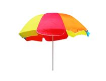 blanc de parapluie d'isolement par plage de fond Photographie stock libre de droits