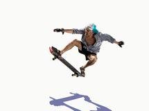 Blanc de patinage de vieil homme Image libre de droits
