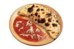 blanc de pizza d'isolement par calzone Photographie stock libre de droits
