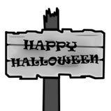 Blanc de poteau indicateur de Halloween Photographie stock libre de droits