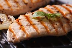Blanc de poulet aux oignons et basilic sur le macro de gril Photos stock