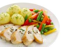 Blanc de poulet avec des légumes Image libre de droits