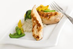 Blanc de poulet avec du riz Photographie stock libre de droits