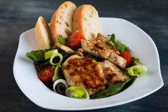 Blanc de poulet avec de la salade et la ciabatta photos stock