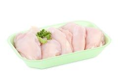 Blanc de poulet cru en module Photographie stock