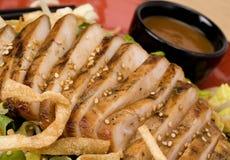 Blanc de poulet découpé en tranches sur la salade Photographie stock