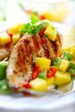 Blanc de poulet grillé avec le Salsa frais de mangue Photographie stock libre de droits
