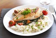 Blanc de poulet grillé d'un plat Photographie stock