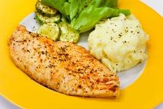 Blanc de poulet - mariné et cuit au four, avec de la salade Images libres de droits