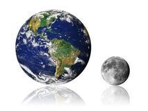 Blanc de réflexion de lune de la terre Photos libres de droits