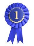 Blanc de récompense de bande bleue avec l'espace de copie. D'isolement Images stock