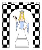 blanc de reine de jeu d'échecs 3d Photographie stock