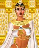 blanc de reine de jeu d'échecs 3d Image numérique égyptienne d'imagination d'art d'une déesse en blanc et or Images libres de droits