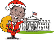 blanc de Santa d'obama de maison de Claus
