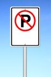 Blanc de signe de stationnement interdit pour le texte Images stock