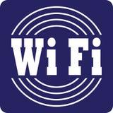 Blanc de signe de WiFi sur le symbole bleu Images stock