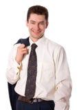 blanc de sourire de chemise d'homme d'affaires Image libre de droits