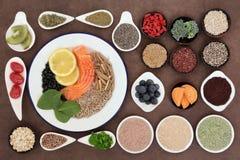blanc de studio de santé de nourriture de flocons d'avoine de fond macro Photographie stock