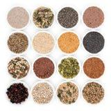 blanc de studio de santé de nourriture de flocons d'avoine de fond macro Photo stock