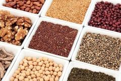 blanc de studio de santé de nourriture de flocons d'avoine de fond macro Image stock