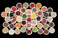 blanc de studio de santé de nourriture de flocons d'avoine de fond macro Images libres de droits