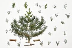 blanc de vecteur d'arbre d'illustration de Noël de fond Vacances du ` s de nouvelle année Pour l'OIN Images libres de droits