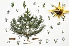 blanc de vecteur d'arbre d'illustration de Noël de fond Vacances du ` s de nouvelle année Pour l'OIN Images stock