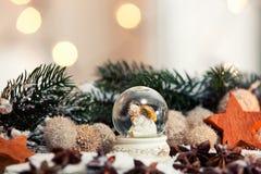 blanc de vecteur de neige d'isolement par illustration de globe Image libre de droits