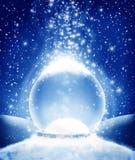 blanc de vecteur de neige d'isolement par illustration de globe Photographie stock