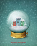blanc de vecteur de neige d'isolement par illustration de globe illustration libre de droits